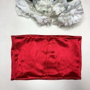 Topshop Tops - NWT Shiny Red TopShop Bandeau Crop US 6